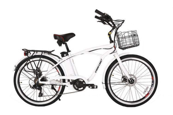 X-Treme Electric Bikes One Size / Metallic White X-Treme Newport Elite 24V Beach Cruiser eBike
