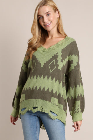 Aztec Print Olive Green Sweater