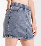 Knit Denim Mini Skirt
