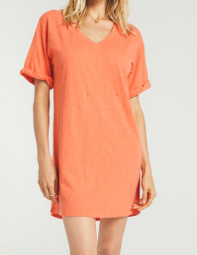 Orange V Neck Dress