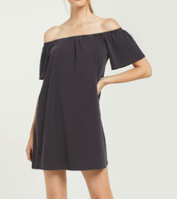 Dk Charcoal Off Shoulder Dress