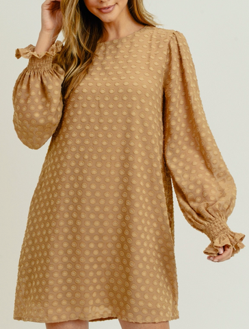 Taupe LS Dot Dress