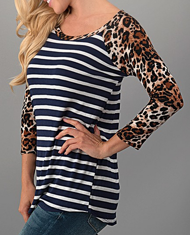Elizabeth leopard and stripe top