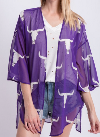 BullHead Purple Sheer Kimonon