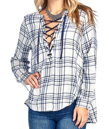 Blue and Ivory Plaid  laceup top
