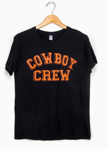 Cowboy Crew Distressed Black Tee