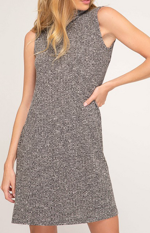 Black Marble turtle neck sleeveless dress