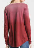 Maroon Ombre v-neck top
