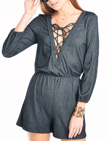Black Denim Romper