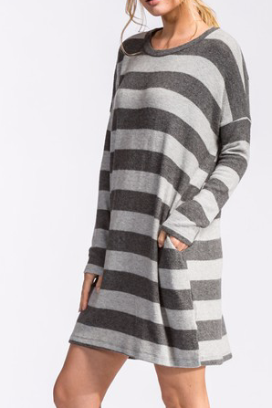 Two Tone Gray Stripe Dress