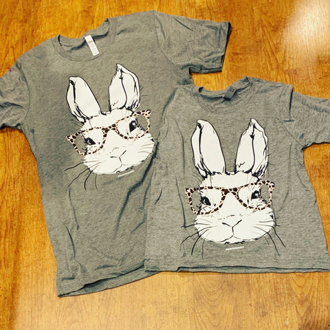 Bunny Leopard Glasses Tee KIDS