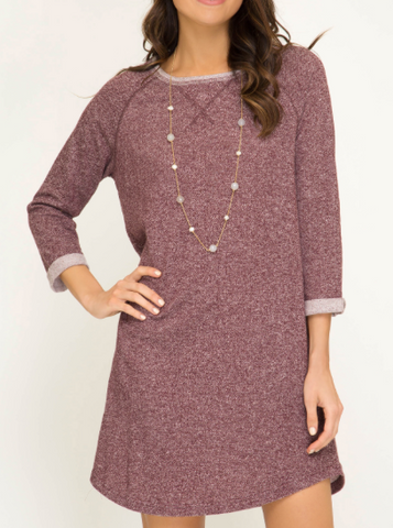 Madge Maroon Sweatshirt Dress