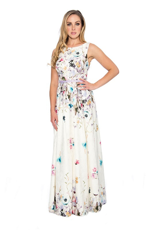 Decode Scoop Neck Sleeveless Tie Waist Ruched Floral Print Matelasse Dress - Prom And Bridal Dress House