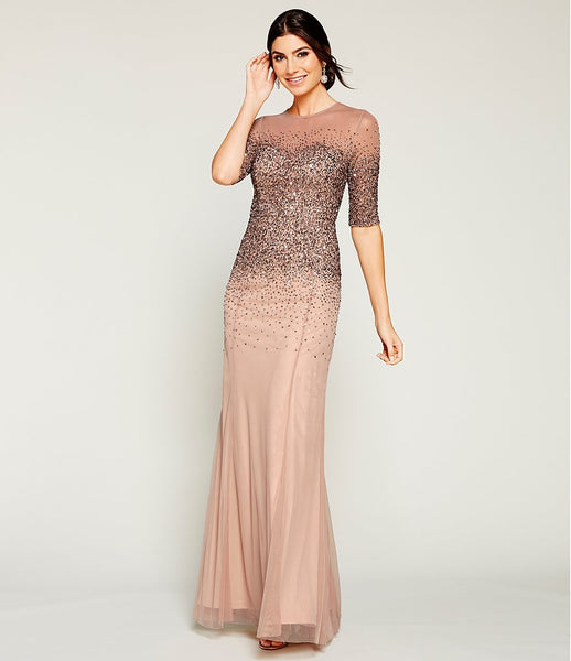 Adrianna Papell Crew Neck 3/4 Sleeve Illusion Keyhole Back Beaded Sequin Mesh Dress - Prom And Bridal Dress House