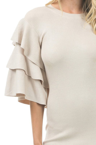 Three Layer Ruffle Sleeve Midi Length Sweater Dress
