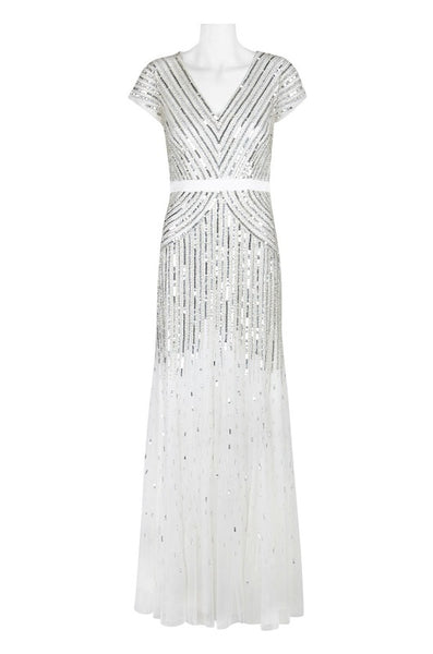 Adrianna Papell V-Neck Short Sleeve Banded Waist Zipper Back Sequined Mesh Dress - Prom And Bridal Dress House