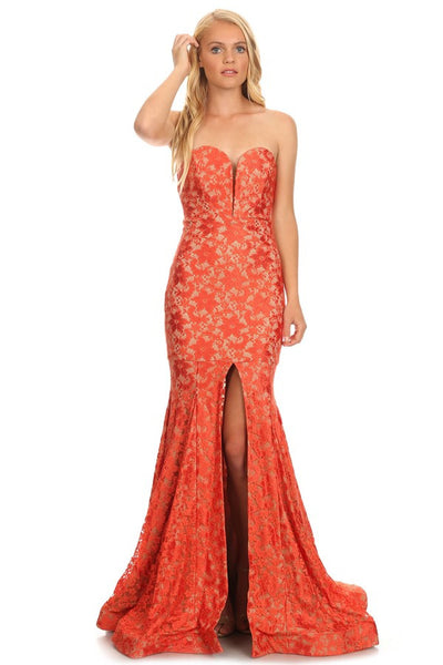 Cocktail Prom Lace Long Dress - Prom And Bridal Dress House