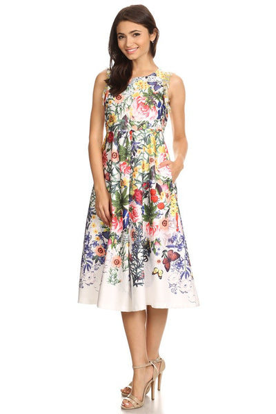 Sleeveless Summer Satin Midi Printed Dress - Prom And Bridal Dress House