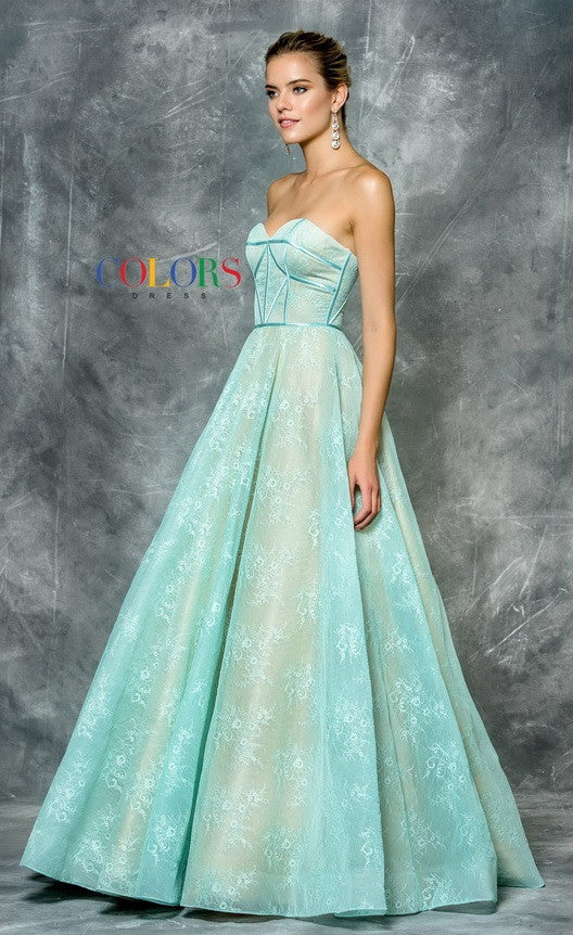 Strapless Prom Lace Aqua Dress