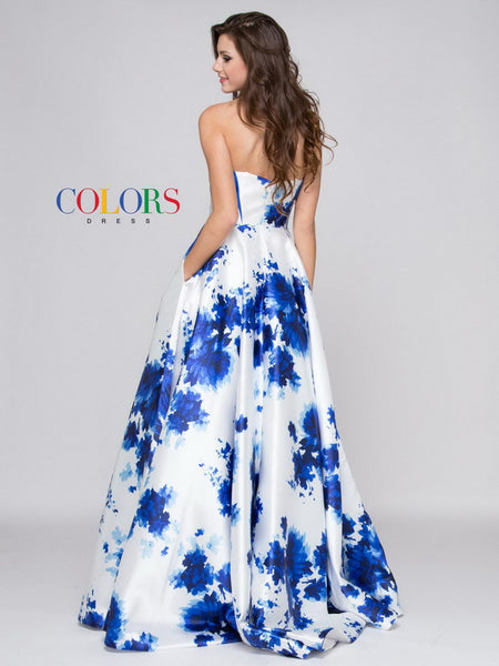 Print Mikado Prom Evening Dress with Scarf - Prom And Bridal Dress House