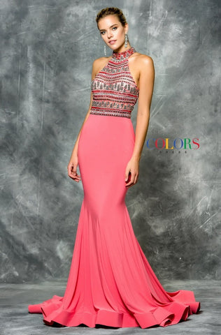 Halter Open Back Long Jersey Prom Dress - Prom And Bridal Dress House