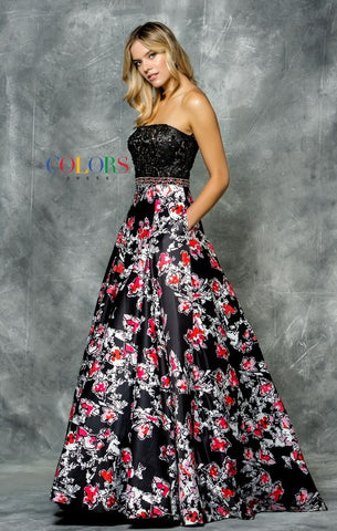 Print Satin Dress with Scarf - Prom And Bridal Dress House