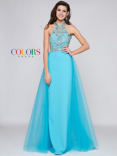Prom Halter Neck Crepe Dress