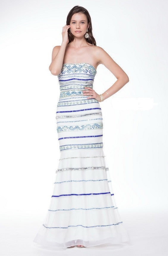 Strapeless Mesh Dress With Scarf - Prom And Bridal Dress House