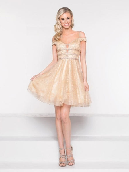 Glitter Mesh Dress with Scarf - Prom And Bridal Dress House