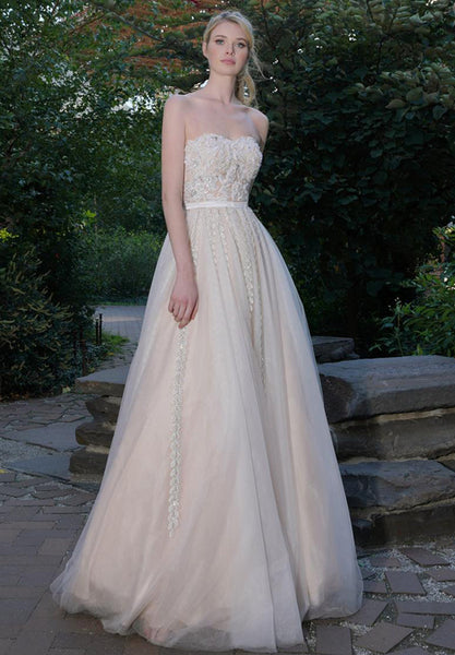 Tulle Embroidered Evening Ball Gown