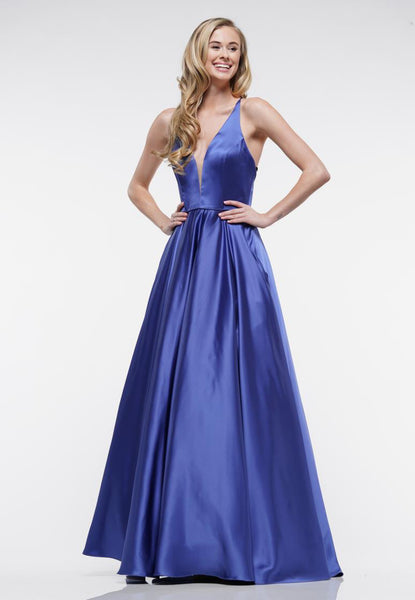 V Neck Satin Evening Dress