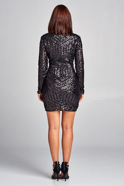 Short Long Sleeve Sequin Dress - Prom And Bridal Dress House