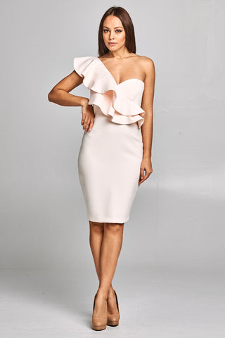 One Shoulder Body Cone Midi Dress