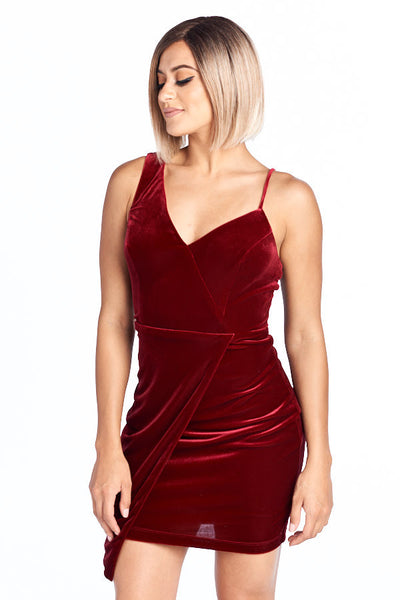 Life of the Party Short Velvet One Shoulder Dress - Prom And Bridal Dress House