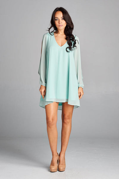 No Time Comeo Green Long Sleeve  Chiffon Short Dress - Prom And Bridal Dress House