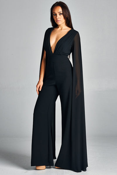 Chiffon Long Sleeve Top Jumpsuit - Prom And Bridal Dress House