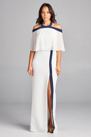 Ocean of Elegance White with Navy Blue Details Maxi Dress