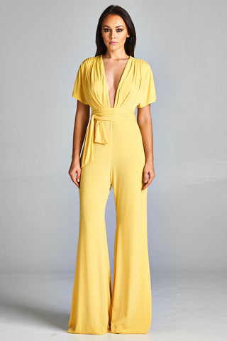 Short Sleeve Feeling Good Yellow Jumpsuit