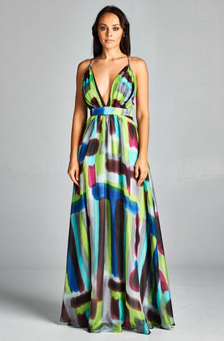 Romantic Printed Maxi Dress