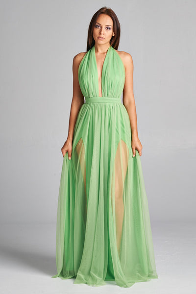Greenery Tulle Halter Maxi Dress - Prom And Bridal Dress House