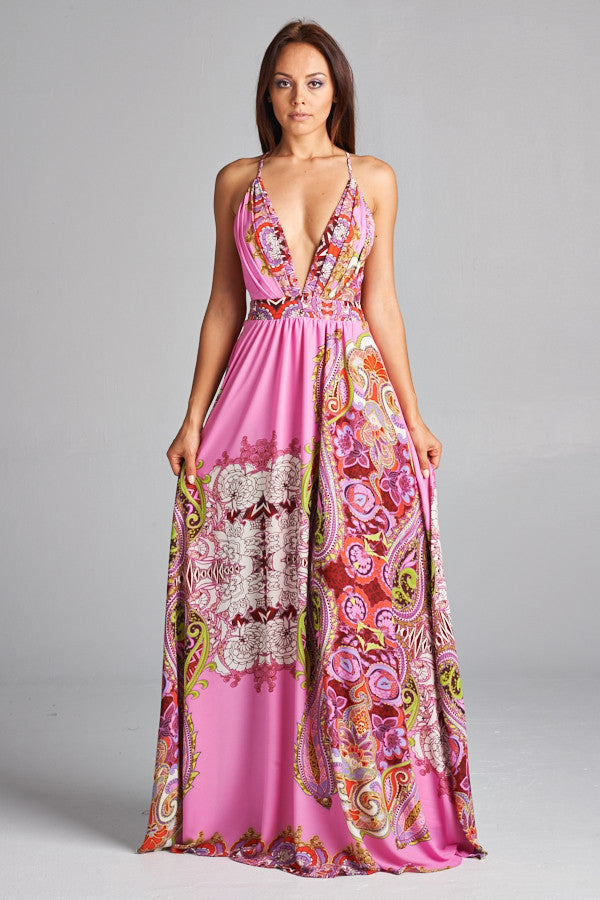 Resort Life Pink Print Maxi Dress