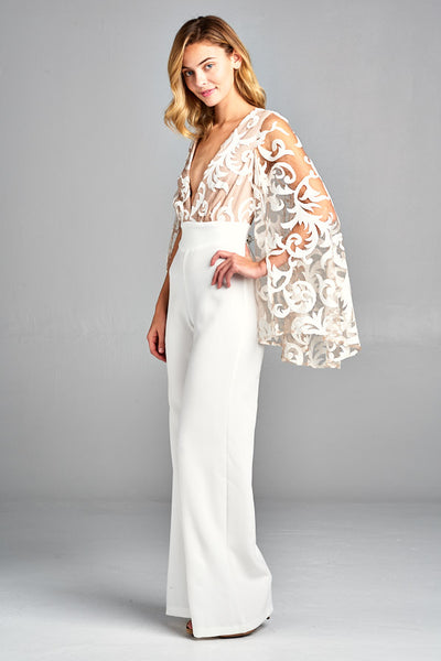 Long Kimono Sleeve V Neck Jumpsuit - Prom And Bridal Dress House
