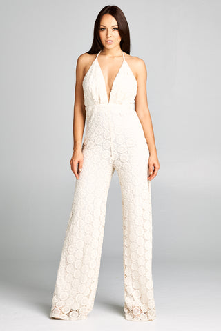 V Neck Embroidered Summer Jumpsuit