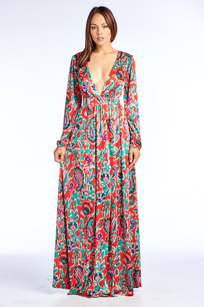 Free Spirit Printed Long Sleeve Maxi Dress - Prom And Bridal Dress House