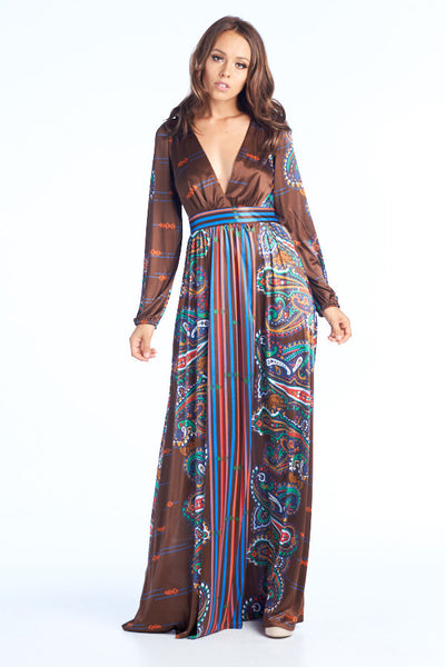 Adventure Finder Long Sleeve Printed Dress - Prom And Bridal Dress House