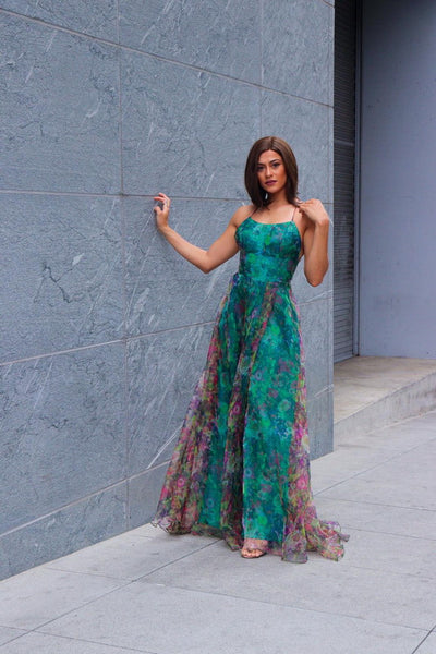 Floral Print Summer Forest Green Maxi Dress - Prom And Bridal Dress House