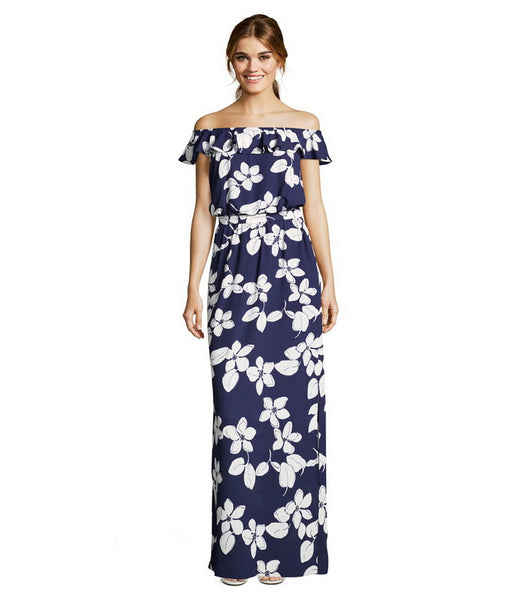 Adrianna Papell Ruffled Off-Shoulder Tie Waist Floral Print Polyester Dress - Prom And Bridal Dress House