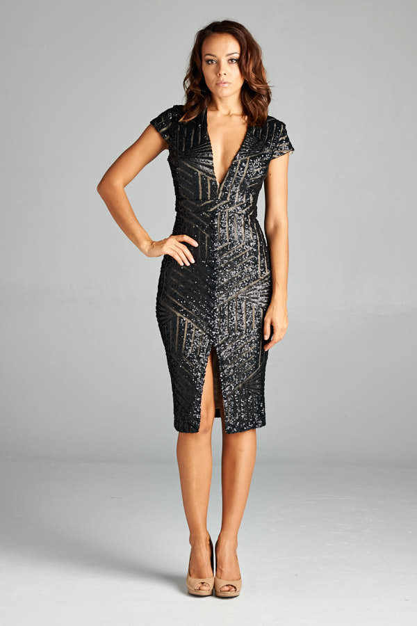Black Sequin Short Sleeve Midi Dress - Prom And Bridal Dress House