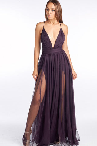 V-Neck Tulle Maxi Dress