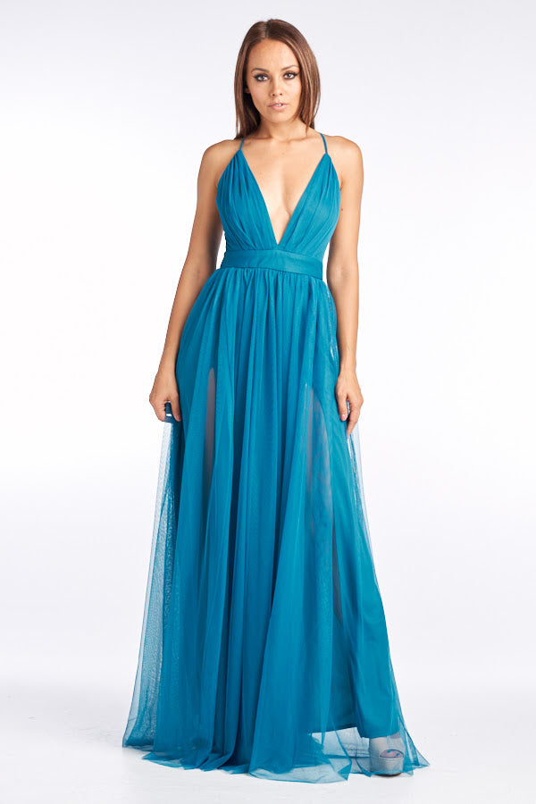 V Neck Long Tulle Cocktail Dress